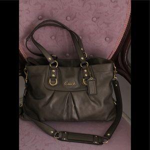 Coach Ashley Large Dark Grey Leather Carryall Bag